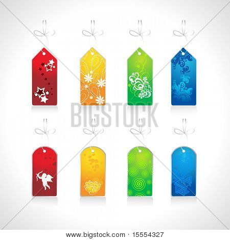 vector set of floral tags on white