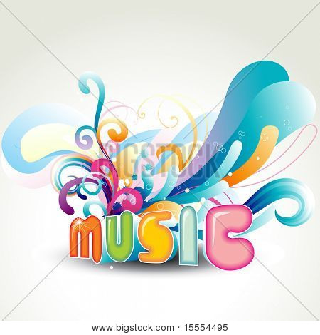 vector music design with floral around it