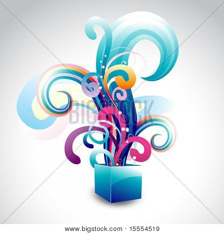 vector box with colorful floral design coming out