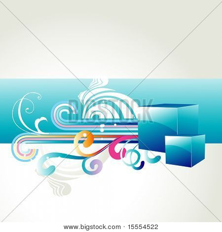 vector box with beautiful colorful floral design coming out