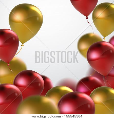 Vector festive illustration of flying realistic glossy balloons. Red and golden balloon bunch. Decoration element for holiday event invitation design. Applicable for banner, poster, flyer, cards