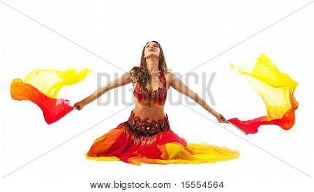 Beauty young woman dance with fantail