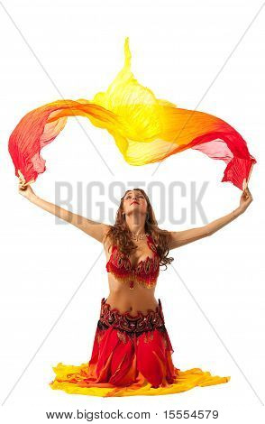 woman dance with fantail in oriental costume