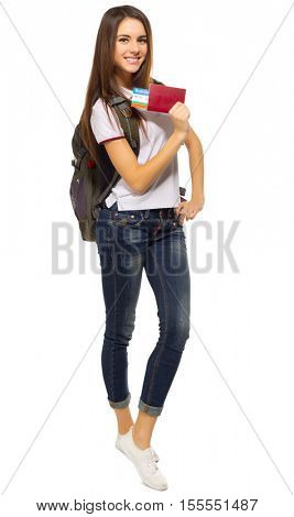 Young traveling girl isolated on white