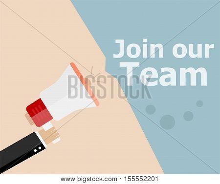 Flat Design Business Concept. Join Our Team. Digital Marketing Business Man Holding Megaphone For We