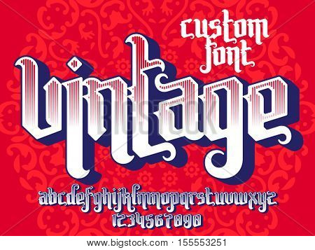 Vintage custom font on round pattern background. Gothic type letters and numbers. Stock vector typography for labels, headlines, posters, tattoo etc.