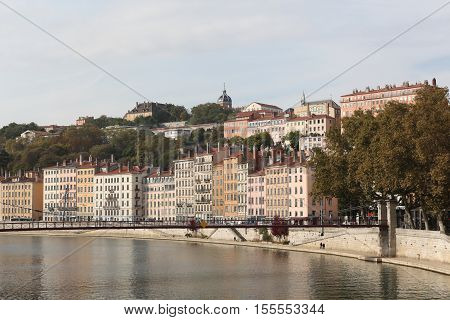 Lyon, France - October 12, 2016: View of the city of Lyon with Saone river, France