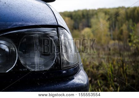 the headlights of a car. Autumn drive