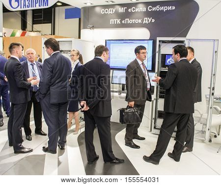 St. Petersburg, Russia - 4 October, Group of business people at Gas Forum, 2016. Petersburg Gas Forum which takes place in Expoforum.