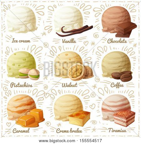 Set of cartoon vector icons isolated on white background. Ice cream scoops with different flavors. Vanilla, chocolate, pistachio, walnut, coffee, caramel, creme brulee, tiramisu. Part 1