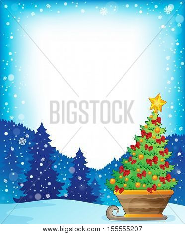 Frame with Christmas tree on sledge - eps10 vector illustration.
