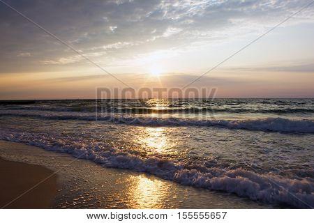 Daybreak over sea. Natural landscape. Seaview sunset