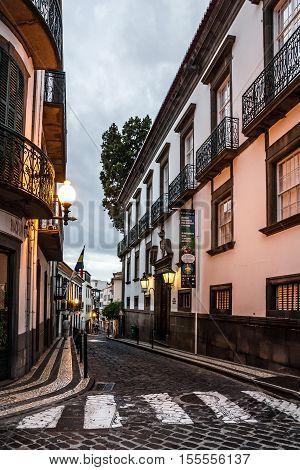 Madeira island, Portugal - Aug 3, 2016: Funchal street Madeira island Portugal