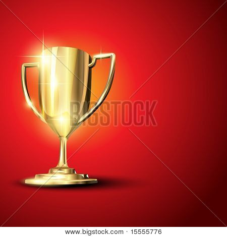 Golden trophy isolated on background. Eps10 illustration