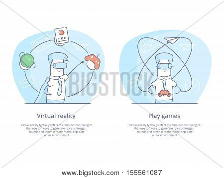 Premium Quality Line Icon And Concept Set: Young man wearing virtual reality goggles and experiencing virtual reality isolated on white background