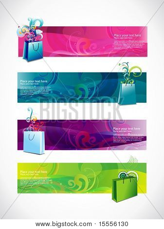 vector shopping headers style set of four different style and colors