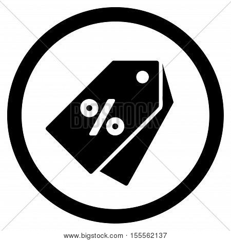 Percent Discount Tags rounded icon. Vector illustration style is flat iconic symbol, black color, white background.