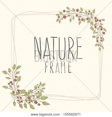 frame of roses. flowers with border. cute border wreath. green leaf floral elements frame. natural border in gentle colors