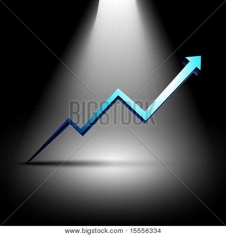blue growth arrow under light in dark background