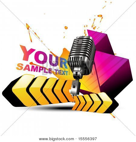 vector mic in colorful design artwork