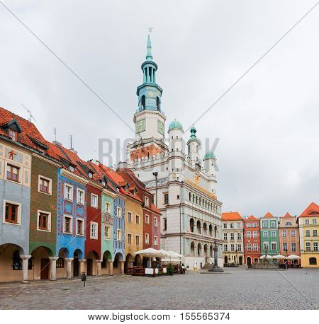 Old market square in Poznan with city hall, Poland
