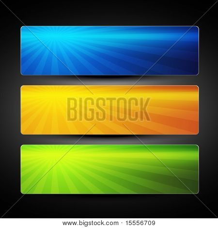 vector set of three colorful banners background