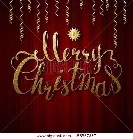 Holiday banner with place for text. Festive red curtain. Calligraphy gold texture inscription Merry Christmas and star.