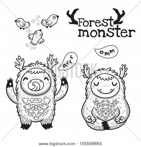 Black and white vector illustration. Hand drawn cute monsters with birds. Outline imaginary characters design elements set isolated on white background