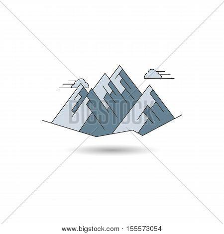 Icon mountain landscape. Vector illustration logo of mountain peaks