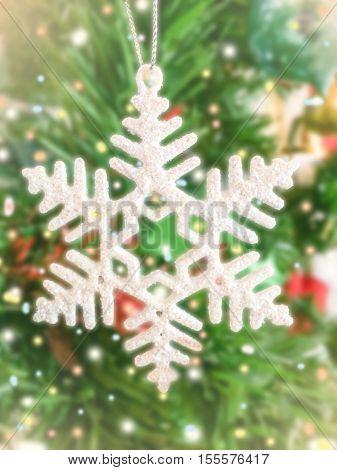 close up ornament snowflake on x-mas tree