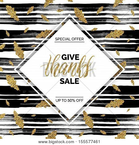 Give Thanks sale vector text on seamless pattern of gold autumn leaves on striped background, special offer thanks giving sale, golden shiny discount text for flyer, poster, banner, print,