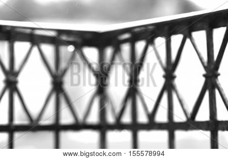 Black and white balcony fence with rain drops background hd