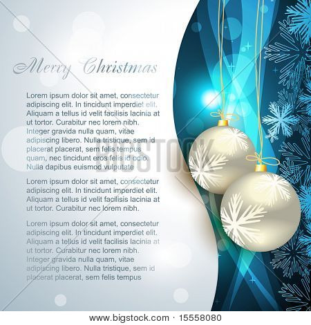 vector christmas ball on beautiful blue background