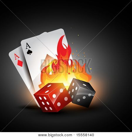 vector dices burning design with playing card illustration