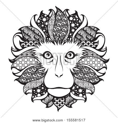 Ornamental patterned head of the monkey. Zentangle doodle vector illustration. Black and white graphic. Can be used as design for tattoo, t-shirt, bag, poster, postcard, coloring book