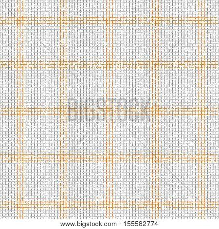 Checkered grey orange pattern. Overlay gauze texture. Vector seamless pattern.