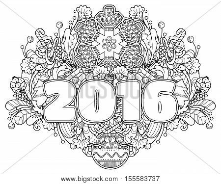 New Year composition 2016 in doodle style. Floral, ornate, decorative, tribal, New Year design elements. Black and white background. Christmas tree, candy, snowflake, bow. Zentangle coloring book page