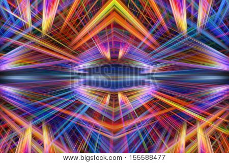 Colorful orange and purple light beams background