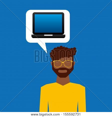 open laptop black and avatar afro man vector illustration eps 10