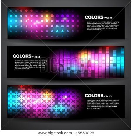 stylish shiny headers vector design