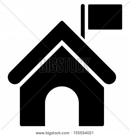 Government Building With Flag vector icon. Flat black symbol. Pictogram is isolated on a white background. Designed for web and software interfaces.