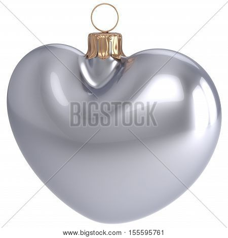 Christmas ball New Years Eve bauble silver heart shape adornment decoration white blank. Happy Merry Xmas traditional wintertime holidays ornament love greeting card festive design element. 3d render