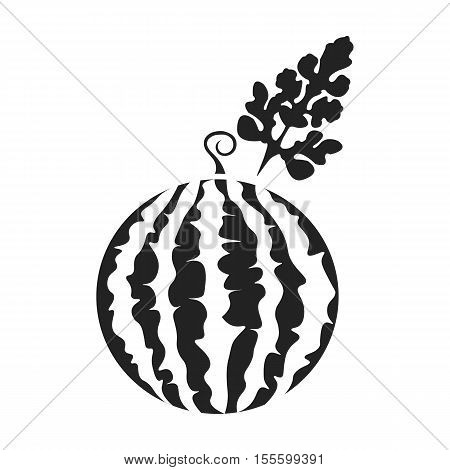Watermelon icon in black style isolated on white background. Plant symbol vector illustration.