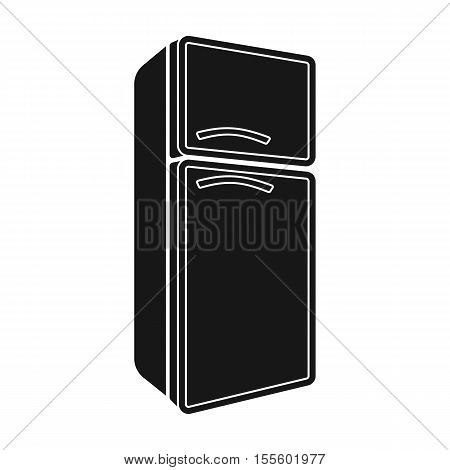 Refrigerator icon in black style isolated on white background. Kitchen symbol vector illustration.