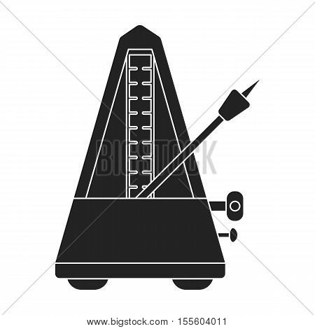 Metronome icon in black style isolated on white background. Musical instruments symbol vector illustration