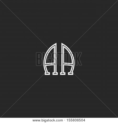 Monogram Aa Logo Association Of The Two Capital Letters A And A, Black And White Thin Line Emblem Mo