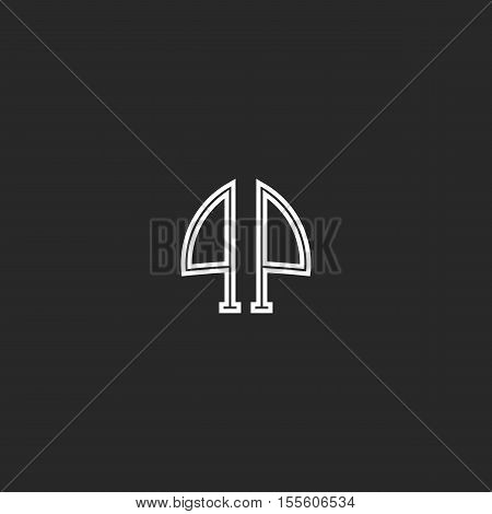 Letters Pp Logo Monogram Linked Two Reflection Initials P And P Group, Creative Black And White Thin