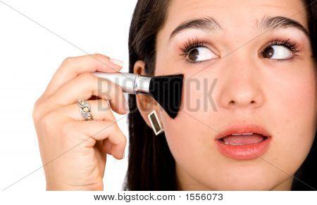 Beautiful Girl Applying Makeup