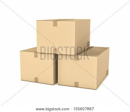 3d rendering of three isolated light beige mail cardboard boxes put together in the shape of a pyramid isolated on a white background, three quarters view. Postal services. Packing and crating. Storage of different products.