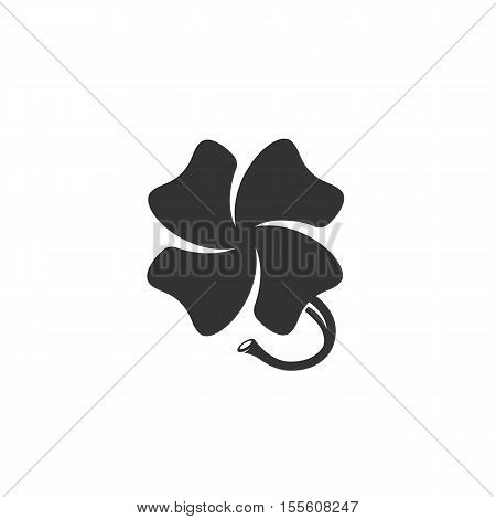 Clover icon isolated on a white background. Logo silhouette design template. Simple symbol concept in flat style. Abstract sign, pictogram for web, mobile and infographics - stock vector